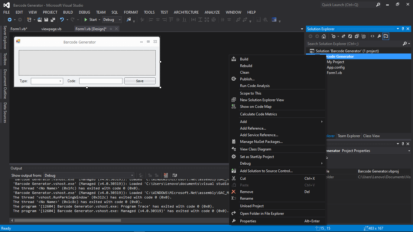 Barcode Generator in VB.NET Tutorial and Source code - Step 5