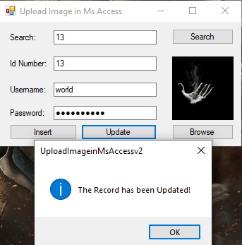 Upload Image VB.NET and MS Access Tutorial and Source code - Final Output