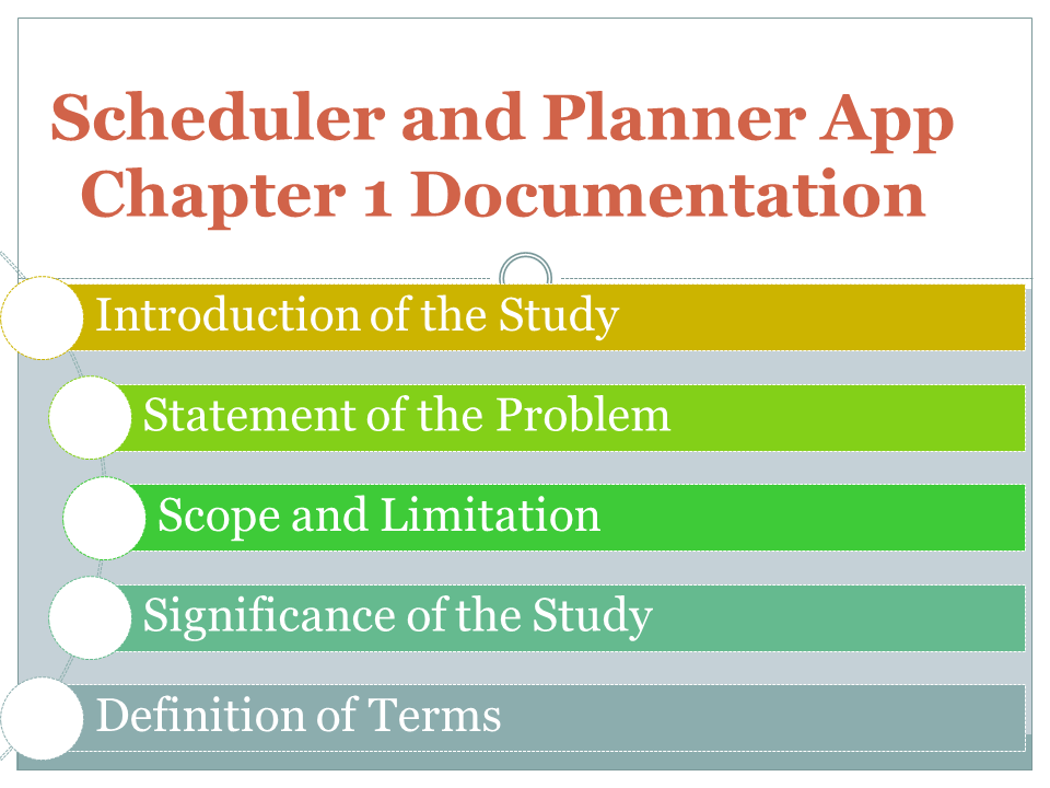 Scheduler and Planner App Chapter 1 Documentation
