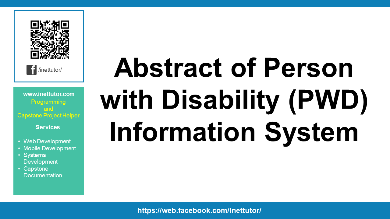 Abstract of Person with Disability (PWD) Information System