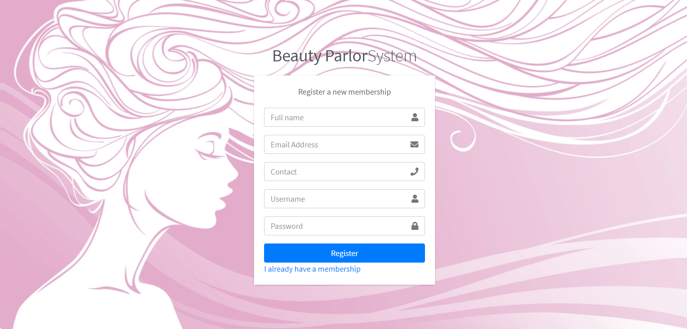 Beauty Parlour Management System - Customer Registration Form