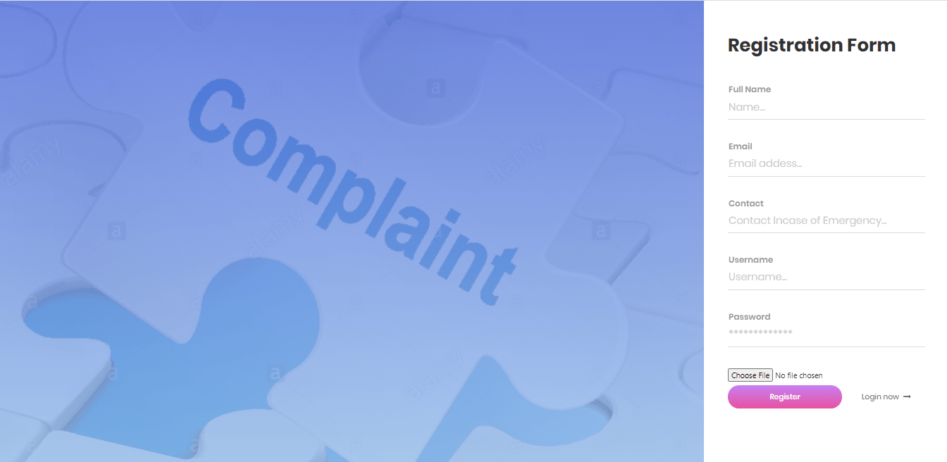 Complaint Management System Free Template in PHP and Bootstrap – Registration Form