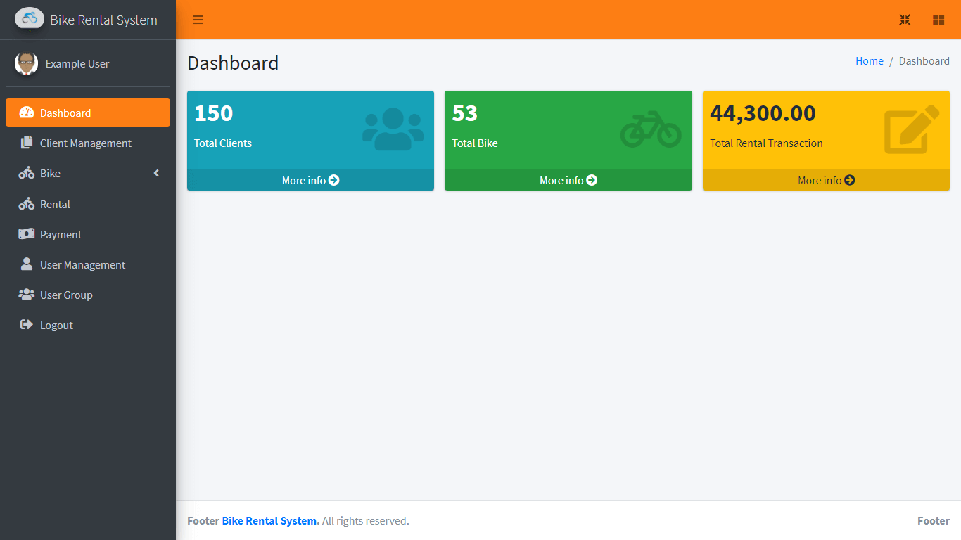 Bike Rental System Free Template in Bootstrap - Admin Dashboard