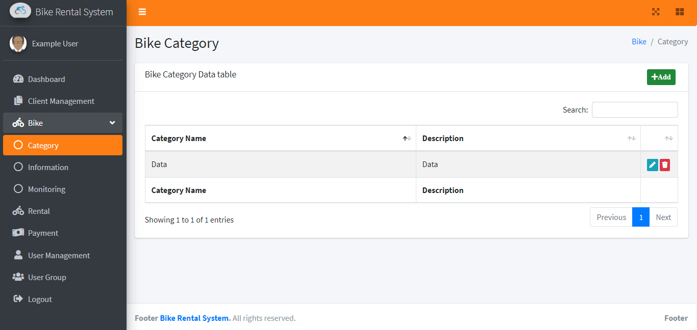 Bike Rental System Free Template in Bootstrap - Bike Category