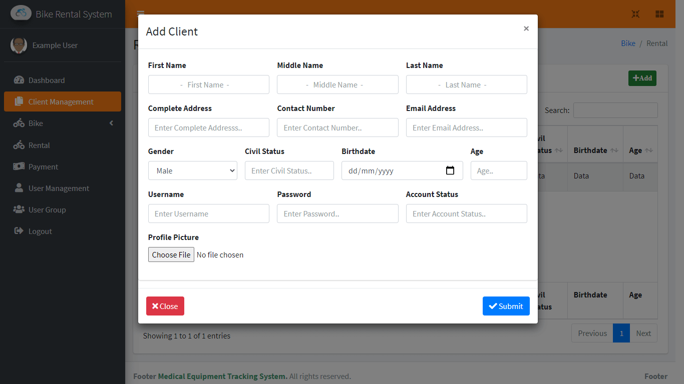 Bike Rental System Free Template in Bootstrap - Client Management Encoding