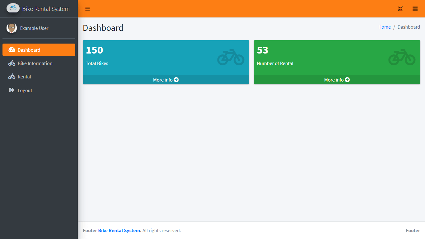Bike Rental System Free Template in Bootstrap - Member Dashboard