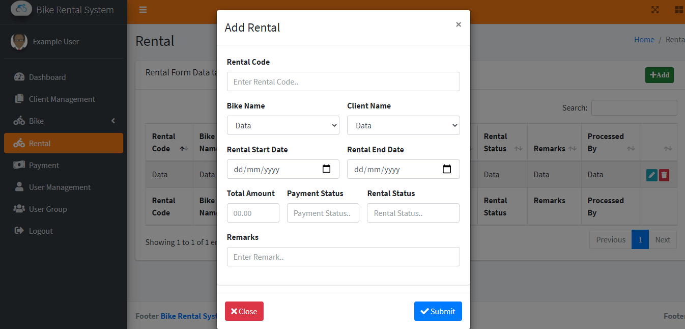 Bike Rental System Free Template in Bootstrap - New Rental Form