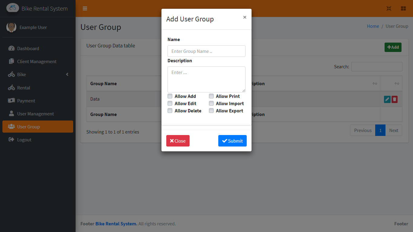 Bike Rental System Free Template in Bootstrap - User Group Encoding