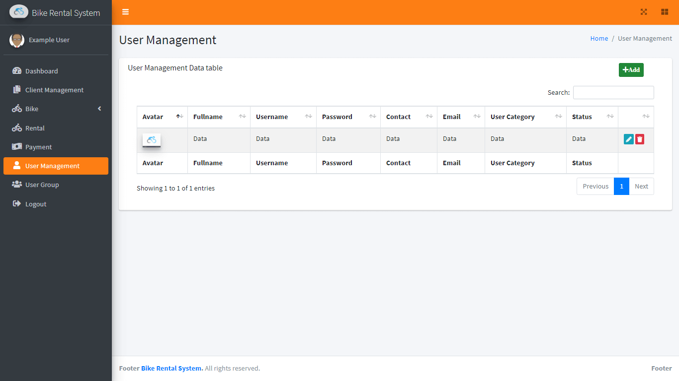 Bike Rental System Free Template in Bootstrap - User Management