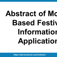 Abstract of Mobile Based Festival Information Application