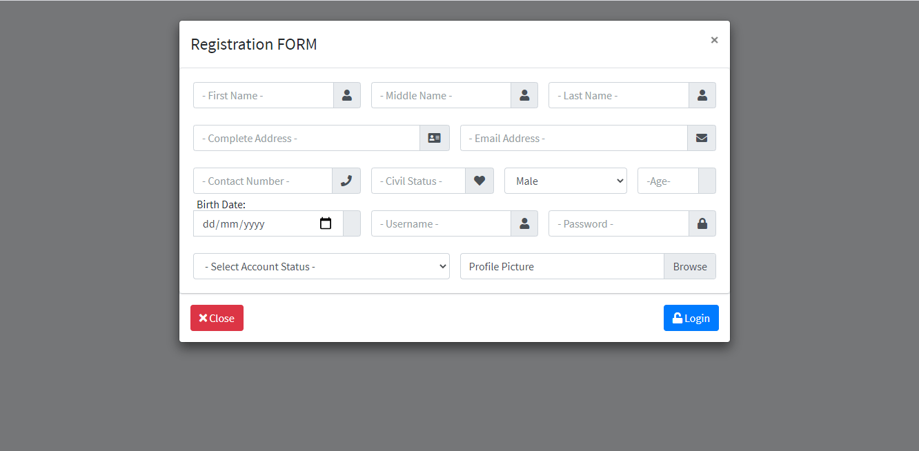 Loan Management System with SMS Free Bootstrap Template - Registration Form