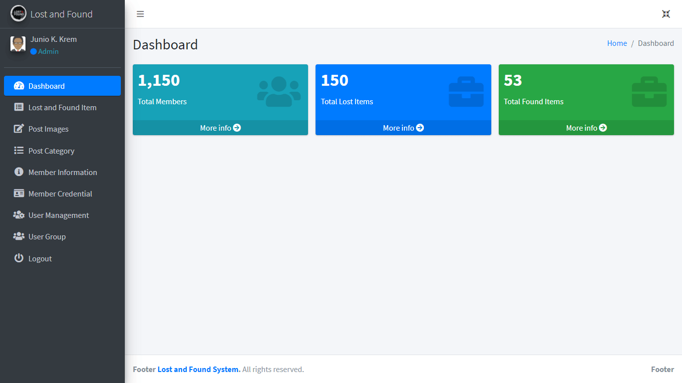 Lost and Found System Free Download Bootstrap Template - Admin Dashboard