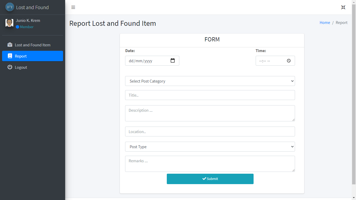 Lost and Found System Free Download Bootstrap Template - Report an Item