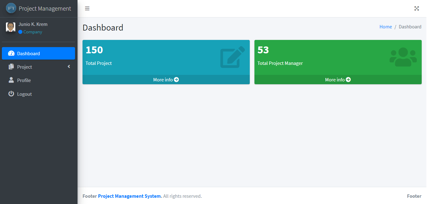Project Management System Company Dashboard