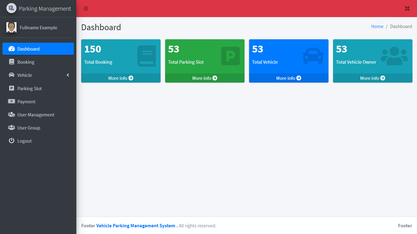 Vehicle Parking Management System Free Bootstrap Template - Admin Dashboard