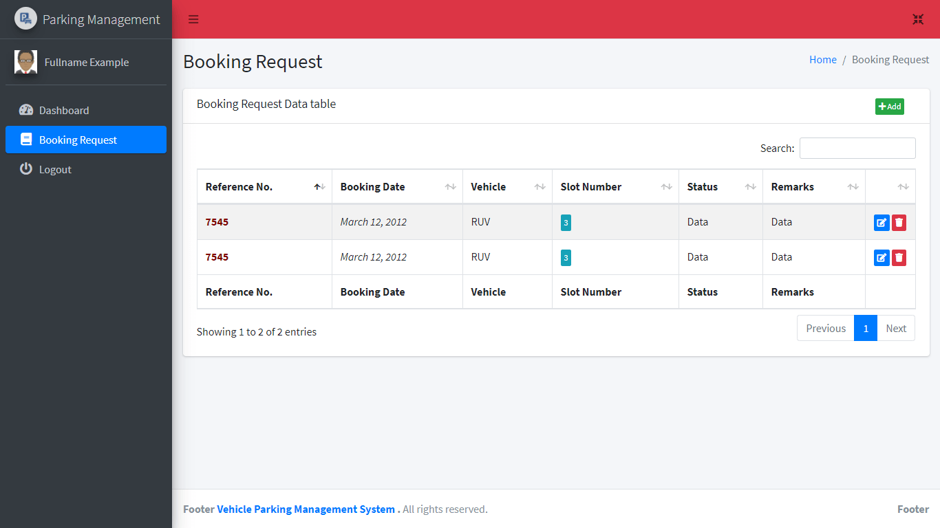 Vehicle Parking Management System Free Bootstrap Template - Booking Request