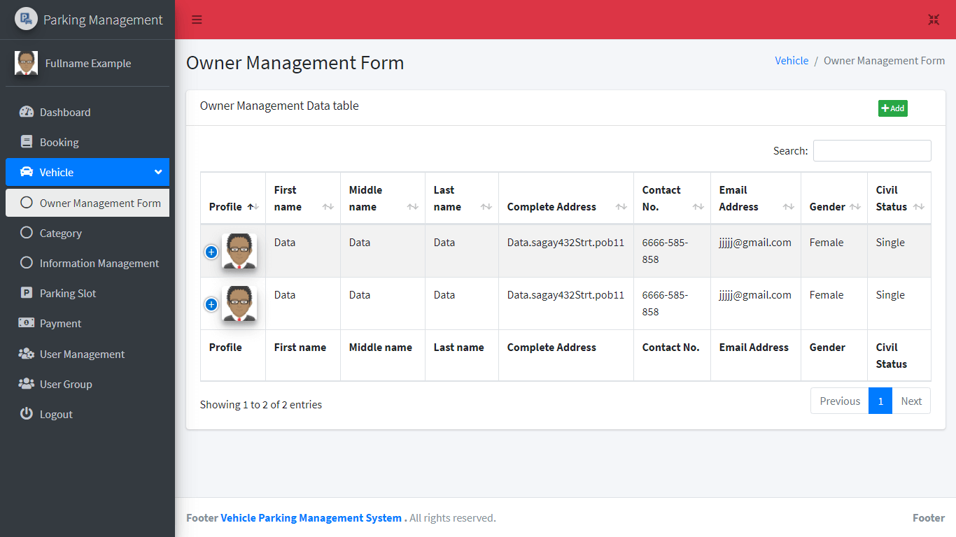 Vehicle Parking Management System Free Bootstrap Template - Owner Management Table
