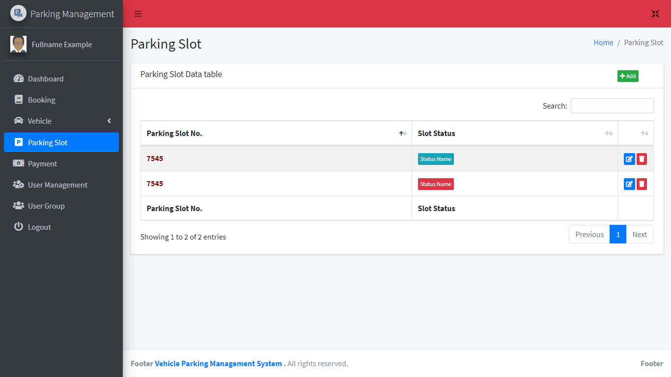 Vehicle Parking Management System Free Bootstrap Template - Parking Slot Table