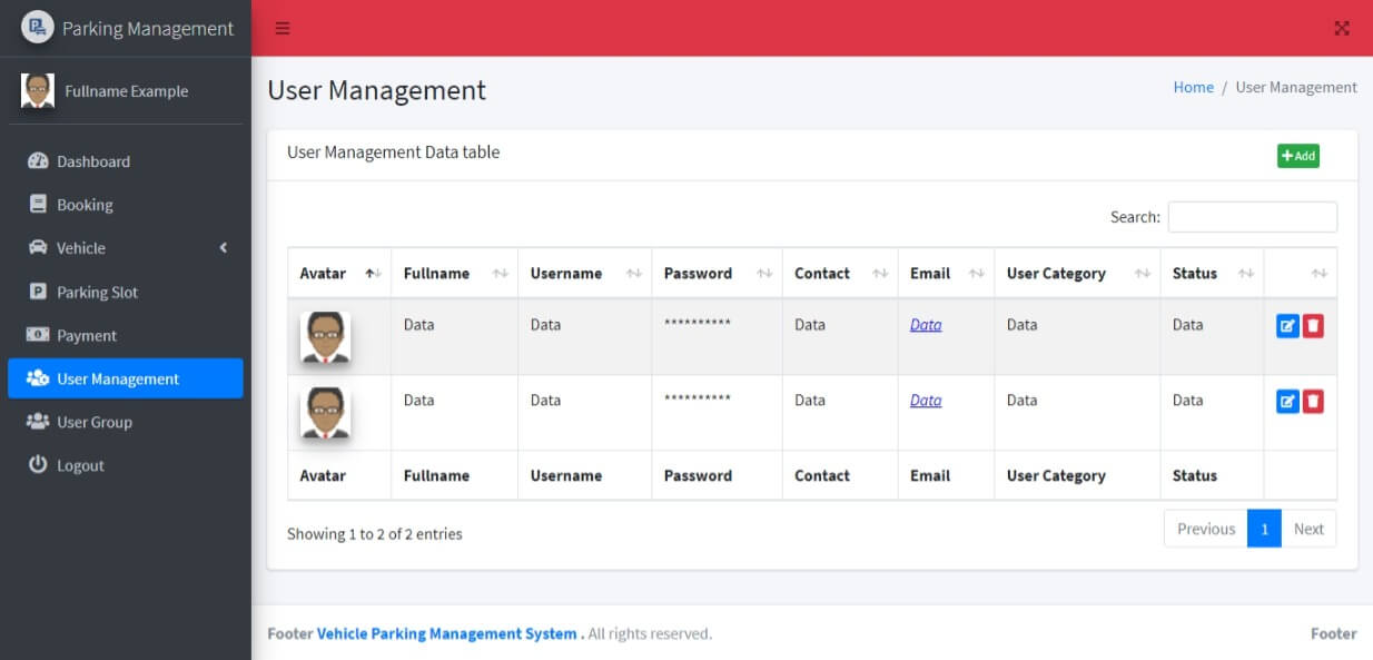 Vehicle Parking Management System Free Bootstrap Template - User Management