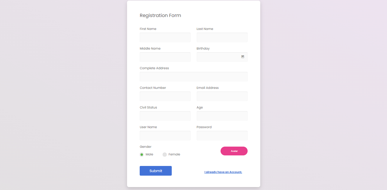 Pet shop Management System Free Download Bootstrap Template - Registration Form