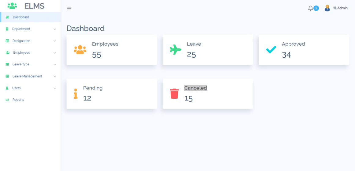 Employee Leave Management Free Bootstrap Template - Admin Dashboard
