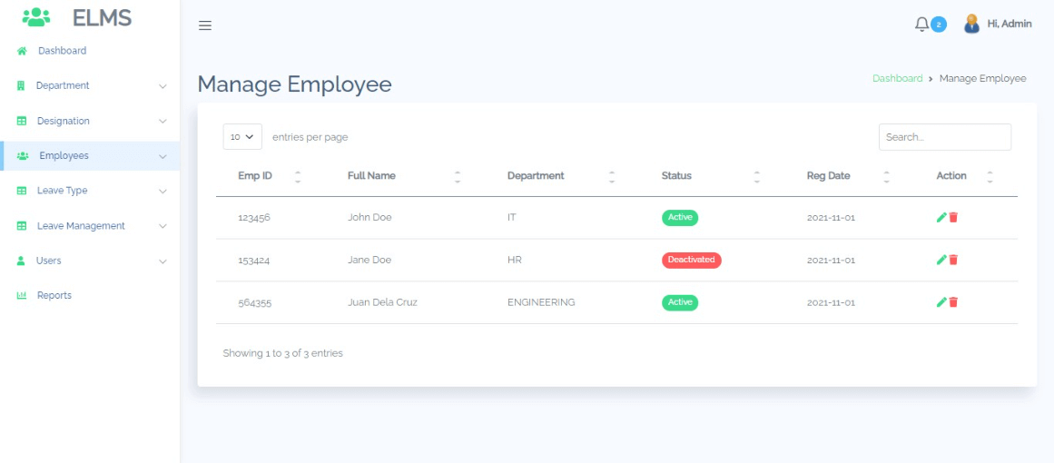 Employee Leave Management Free Bootstrap Template - Employee Management