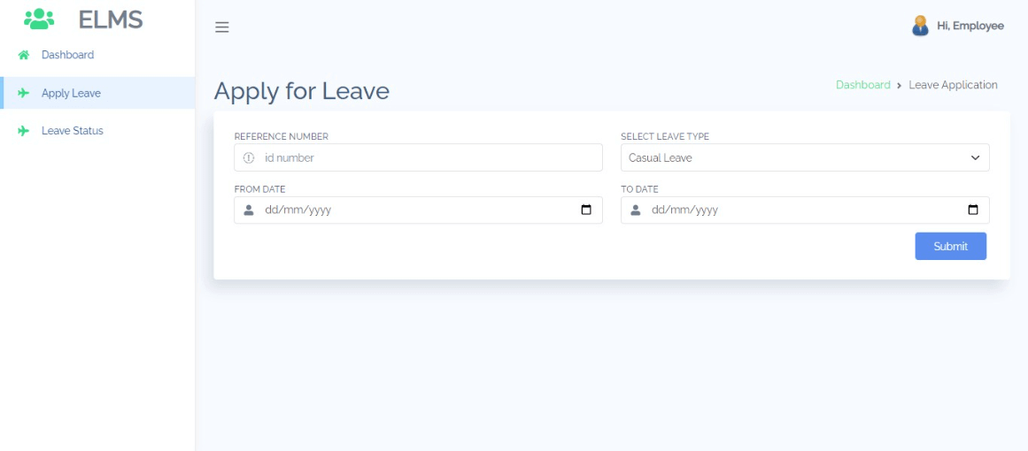 Employee Leave Management Free Bootstrap Template - Leave Application