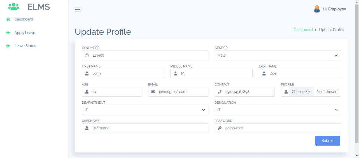 Employee Leave Management Free Bootstrap Template - Profile Update
