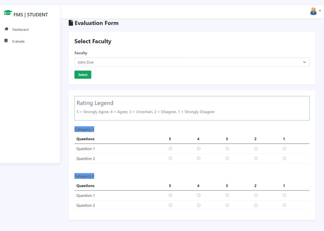 Faculty Evaluation System Free Download Bootstrap Template - Evaluation Form
