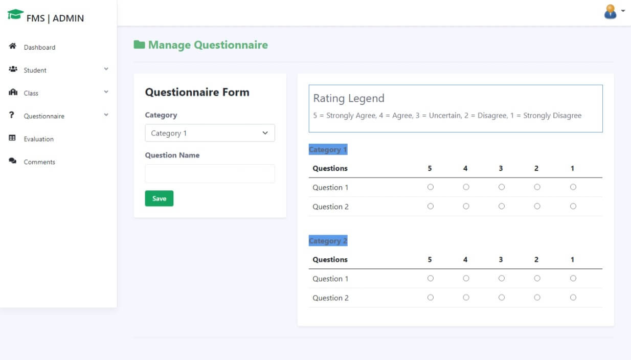 Faculty Evaluation System Free Download Bootstrap Template - Question Management
