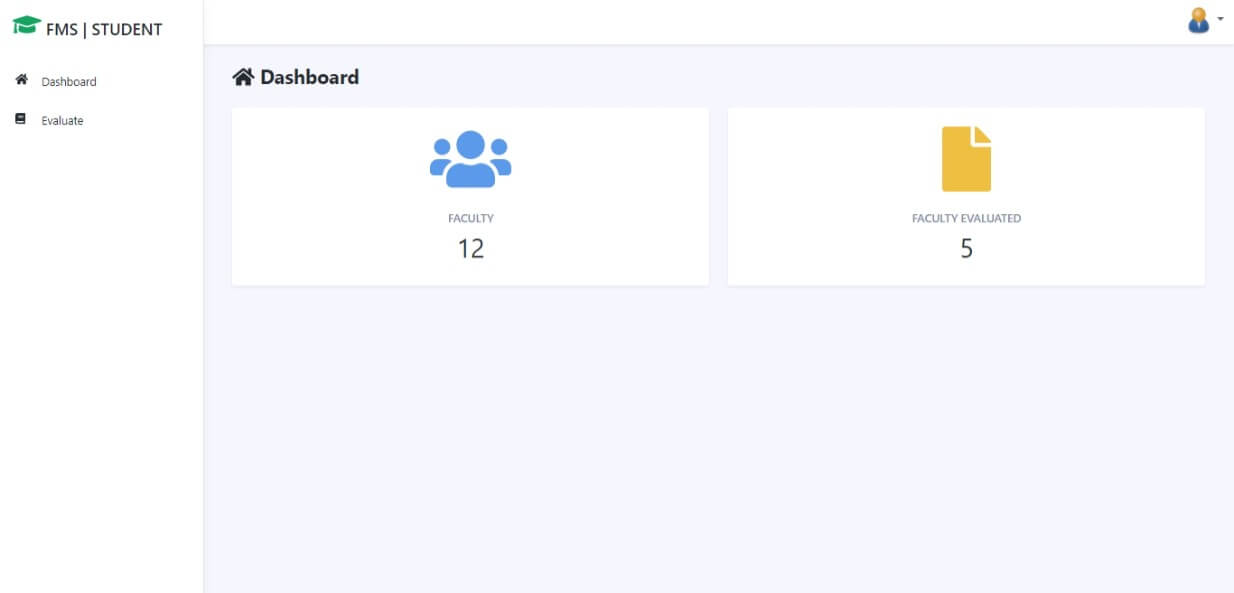 Faculty Evaluation System Free Download Bootstrap Template - Student Dashboard