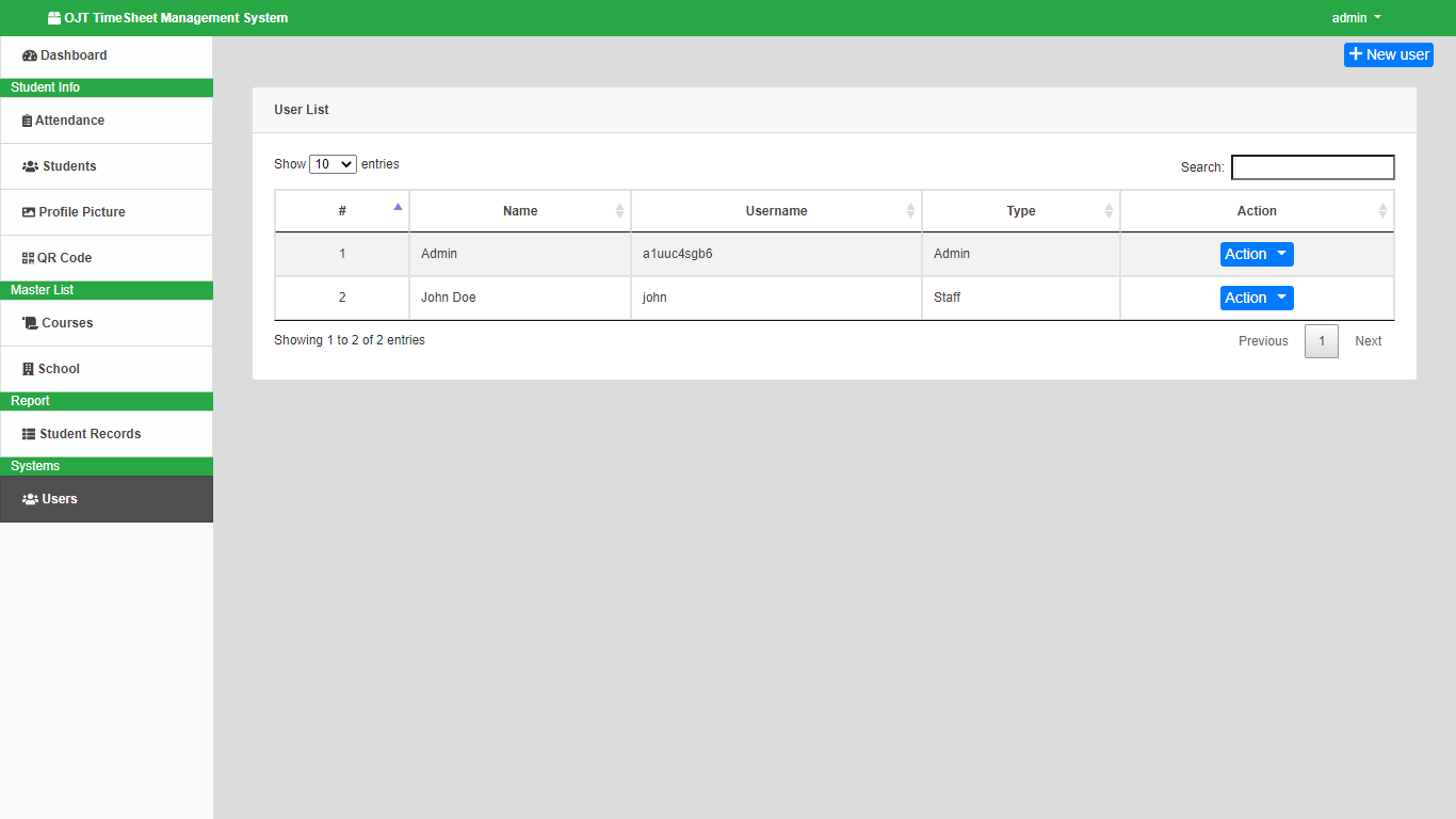 OJT Timesheet Monitoring System using QR Code - List of Users