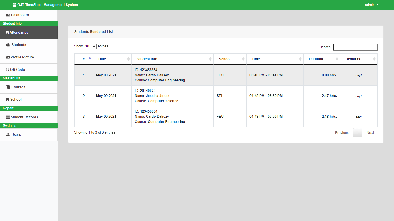 OJT Timesheet Monitoring System using QR Code - Student Rendered List