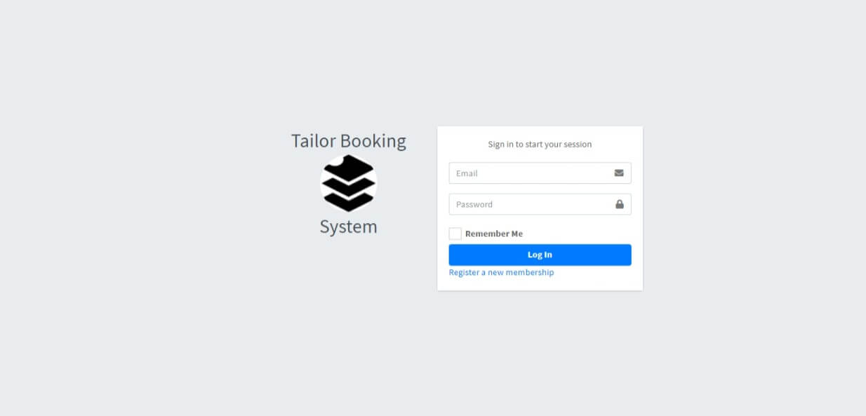 Tailor Booking Management System Free Download Template - Login Form