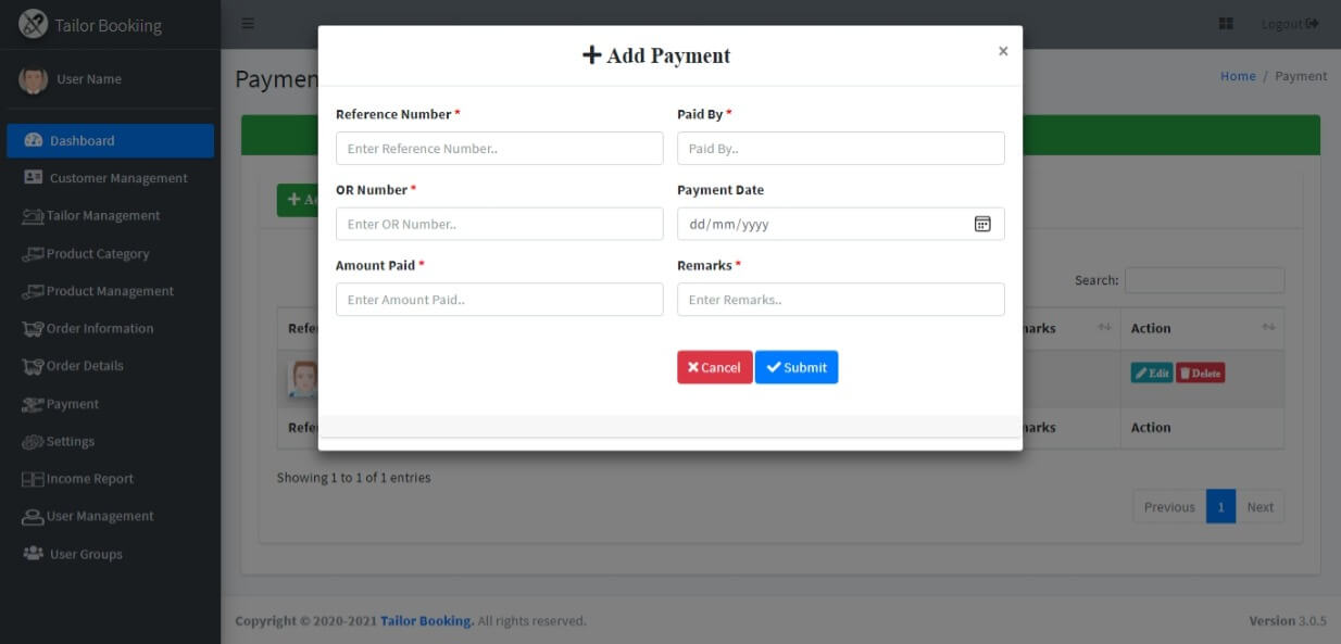 Tailor Booking Management System Free Download Template - Payment