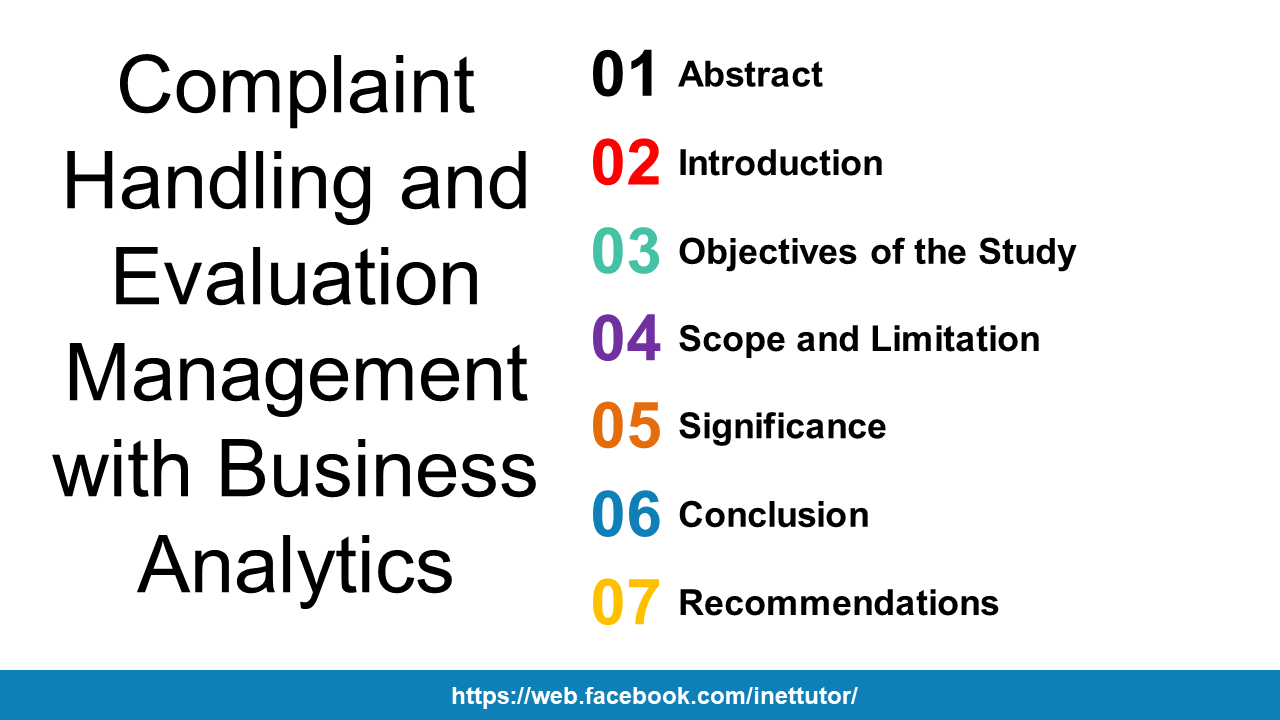 Complaint Handling and Evaluation Management with Business Analytics