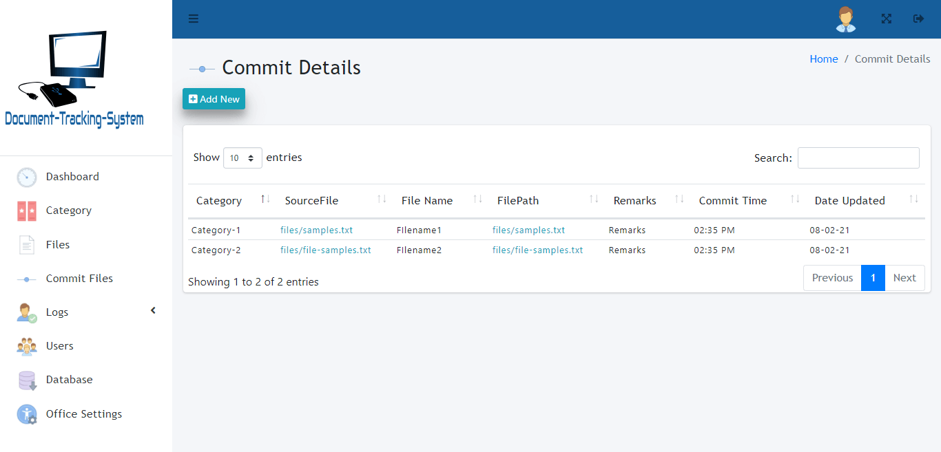 Document Tracking System - Commit File Details