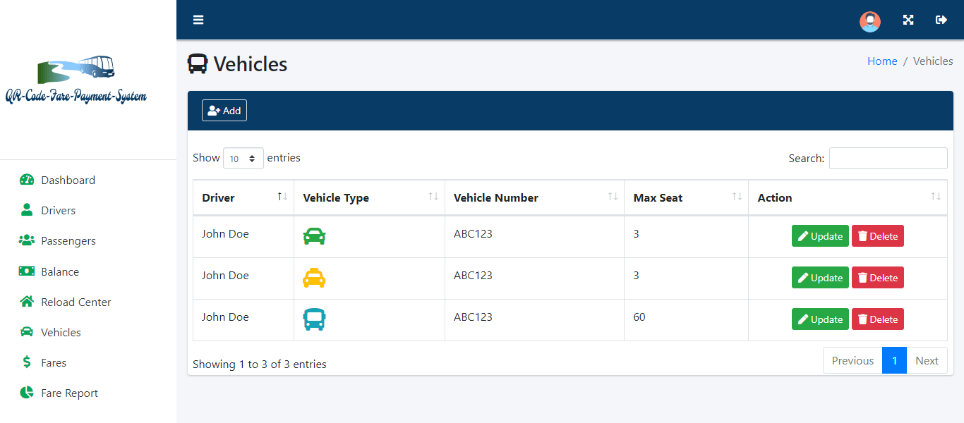 QR Code Fare Payment System - Vehicle Information