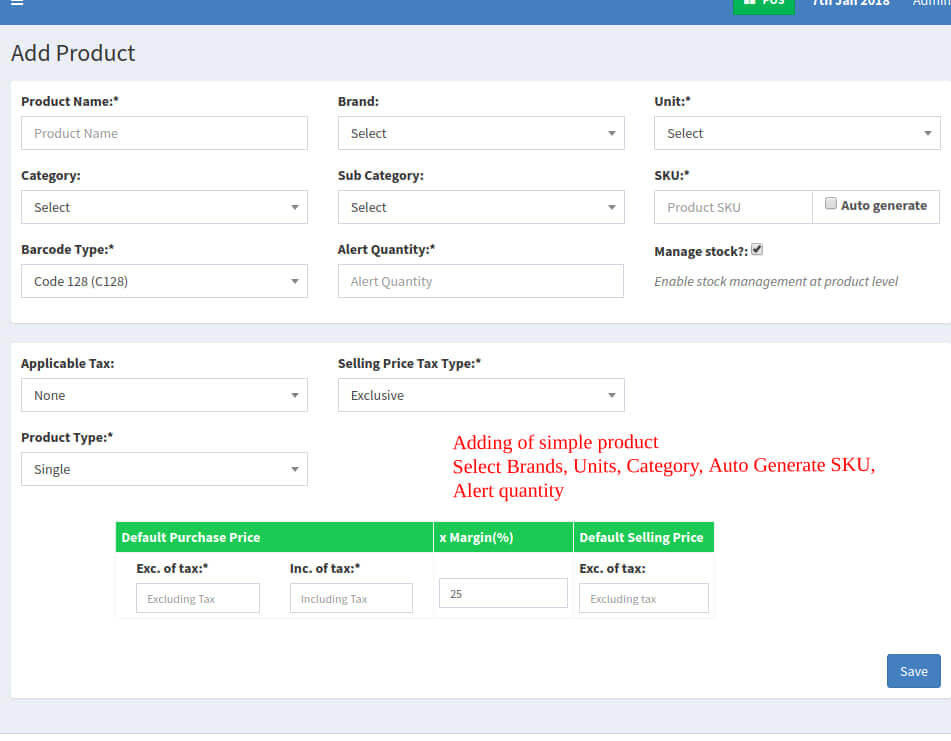 Web-based POS System - Add Product