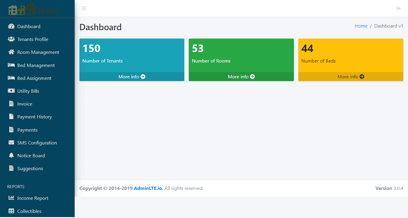 Boarding House Management System - Admin Dashboard