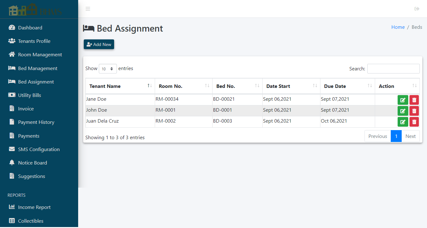Boarding House Management System - Bed Assignment