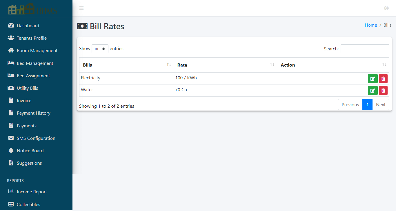 Boarding House Management System - Bill Rates