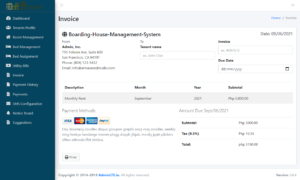 Boarding House Management System - Invoice