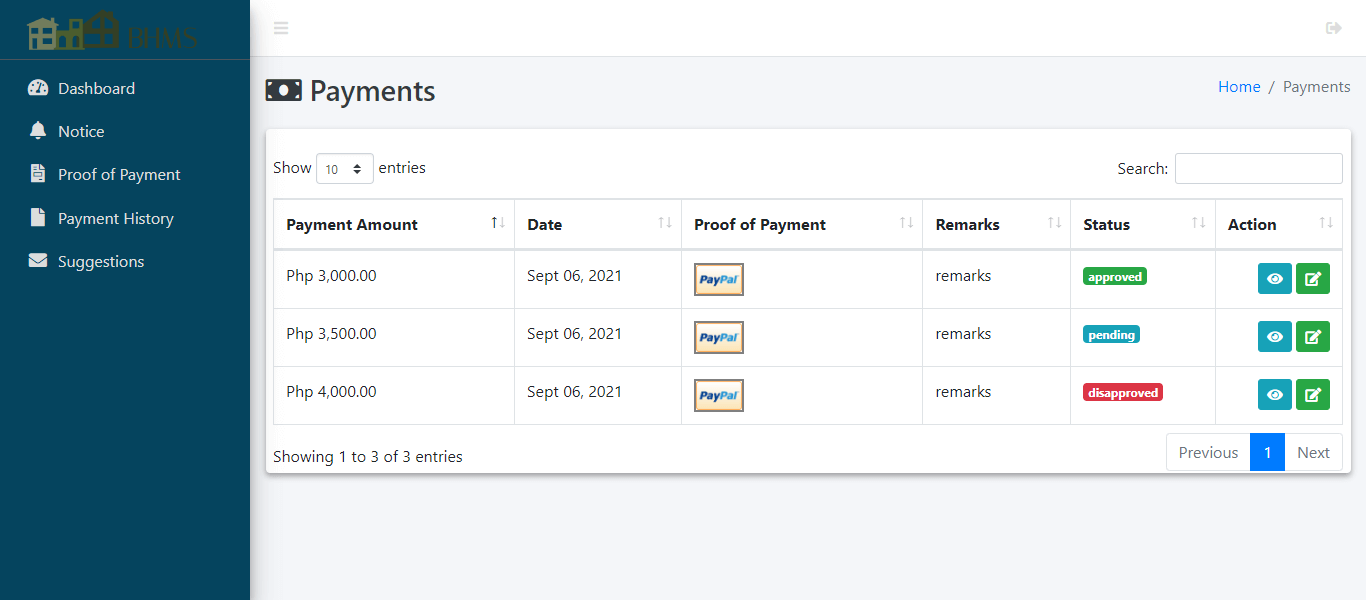 Boarding House Management System - Proof of Payment