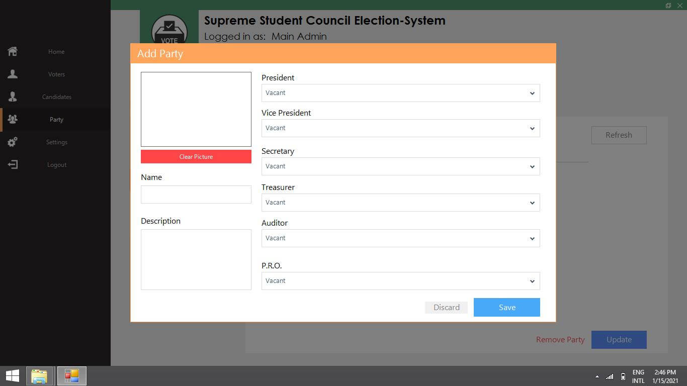 VB.Net SSC Election Voting System - Add Party