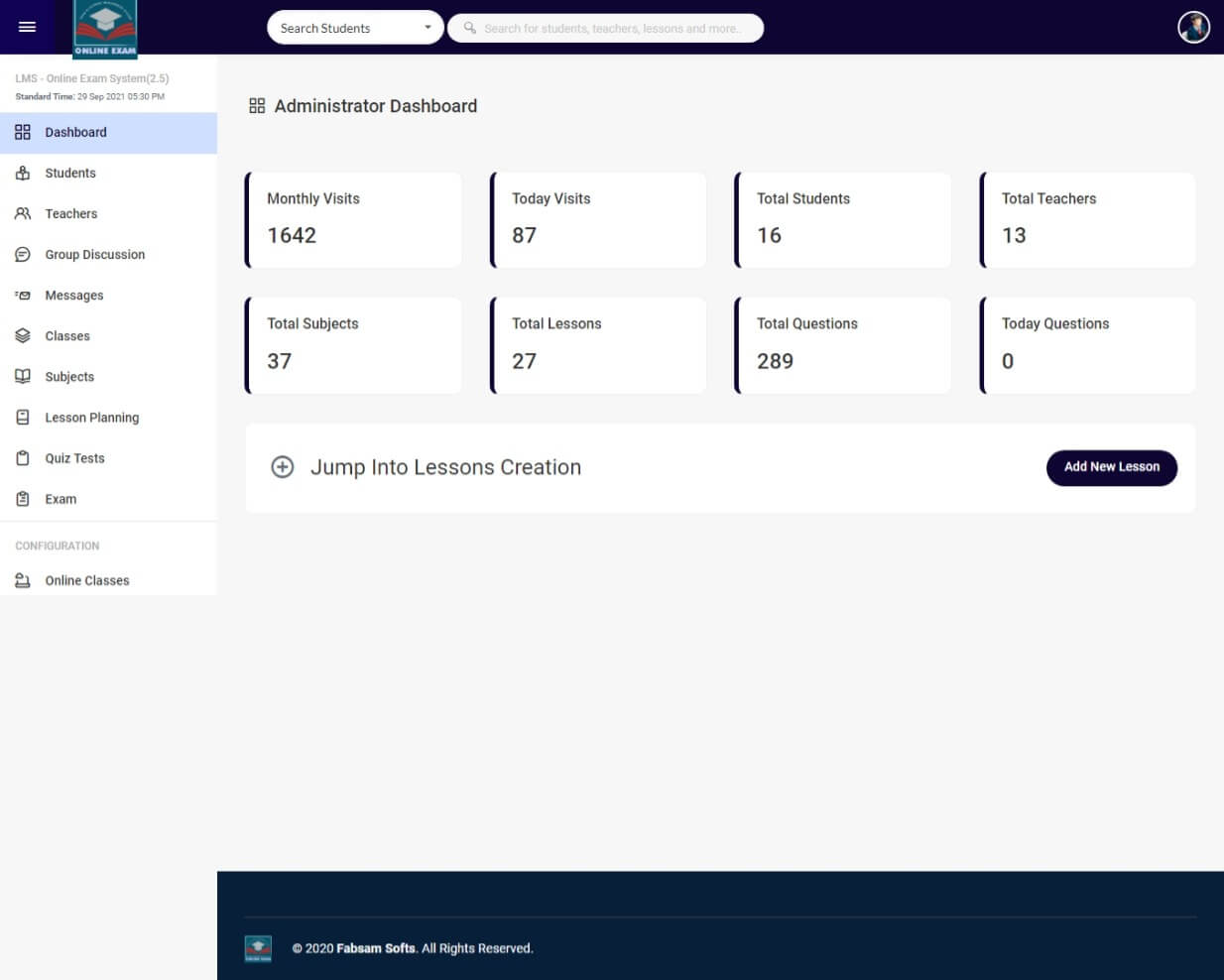Online Exam and Learning Management System - Admin Dashboard