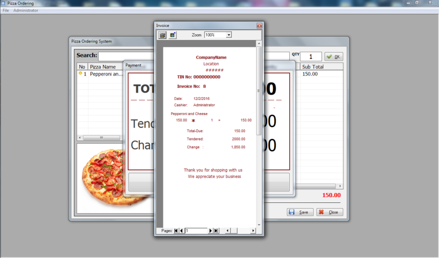 Pizza Ordering System in Visual Basic