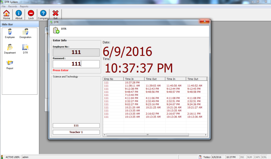 Daily Time Record System Free Download Complete Source code