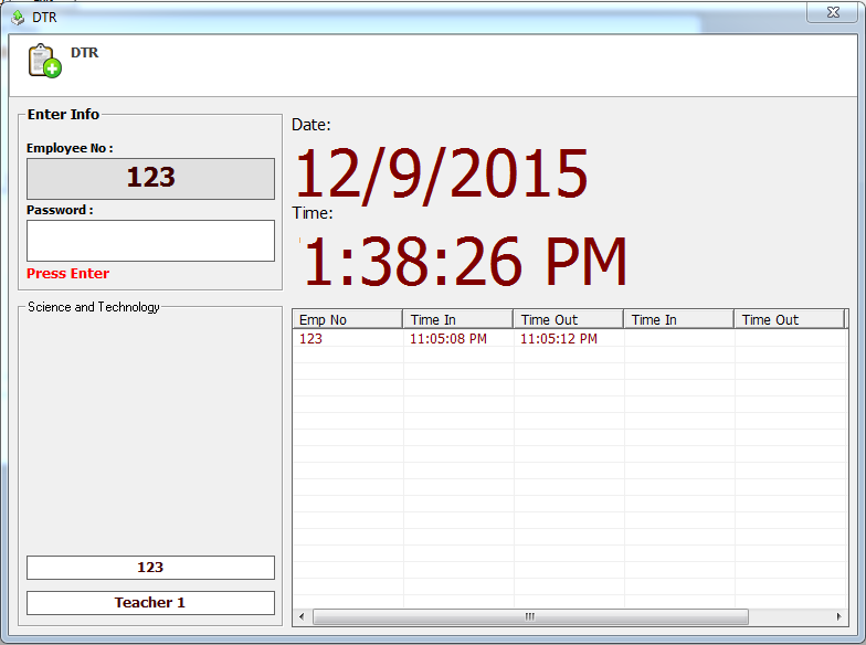 Daily Time Record System in Visual Basic