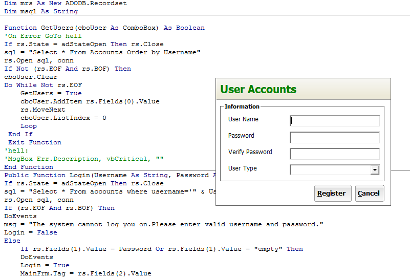 Login system with user registration in Visual Basic